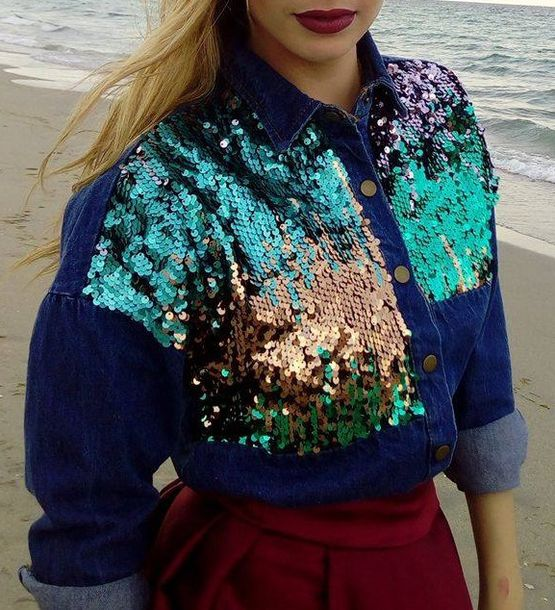 denim jacket denim denim shirt sequins sequin shirt sparkle cute outfits cute top cute skirt red lipstick blonde hair embellished denim ombre jacket