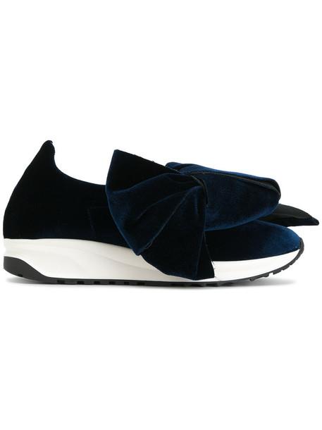Joshua Sanders bow oversized women shoes bow shoes leather cotton blue velvet