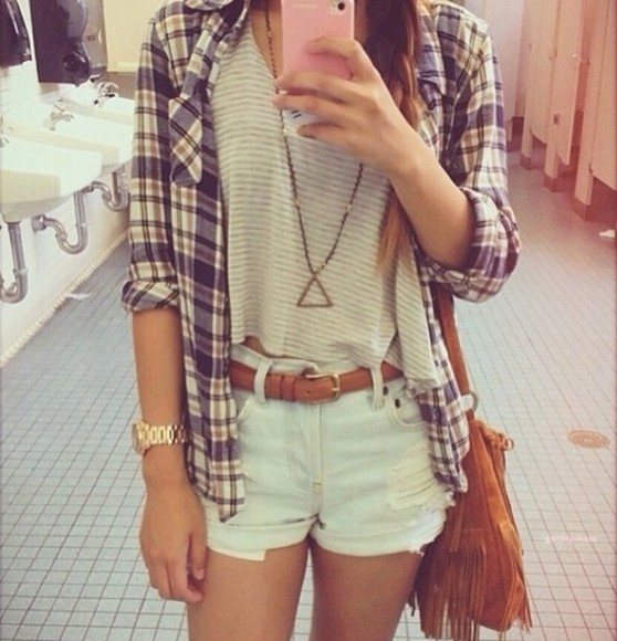 triangle necklace shorts watch iphone case High waisted shorts bag plain white t shirt tank top t-shirt