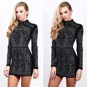 dress,stud dress,diamante dress,crystal dress,fern dress,ggp,balmain dresses
