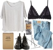 shirt,tumblr,bralette,jeans,huf socks,white,denim,leather