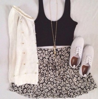 shirt black top crop tops skirt sweater