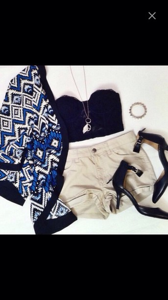 cardigan top shorts shoes