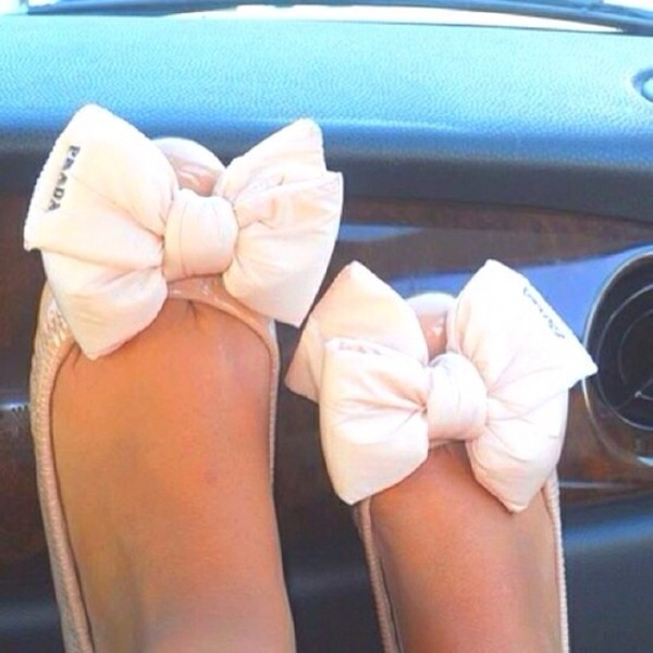 shoes prada flats bow pink