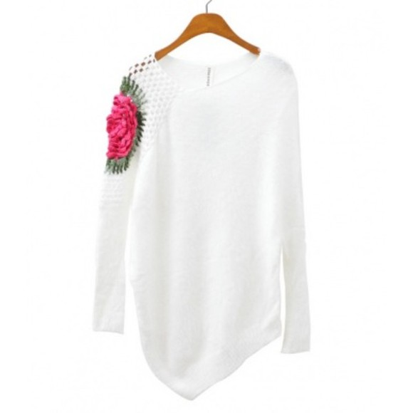 pink flowers blouse long sleeve fall fashion cozy sweater