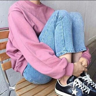 sweater pink jeans tumblr girl aesthetic grunge alternative pale pale grunge aesthetic tumblr pink sweater