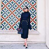 skirt,tumblr,bell sleeves,blue top,dark blue,blue skirt,midi skirt,pencil skirt,bag,printed bag,blue bag,sunglasses,slingbacks,shoes,bell sleeve sweater