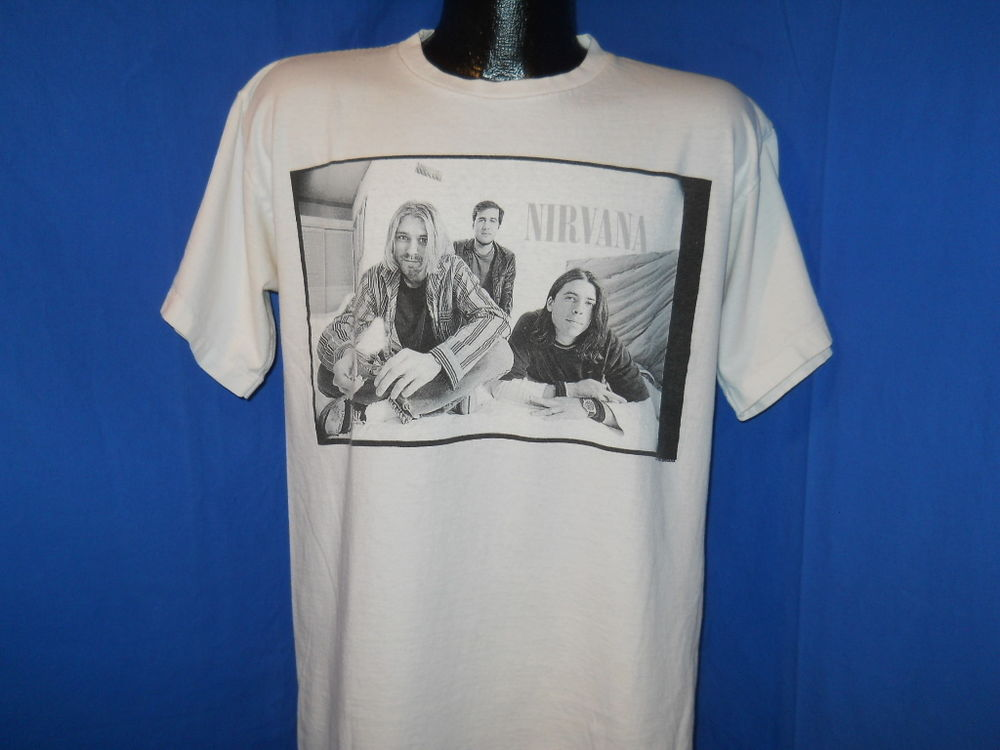 Vintage 90s Nirvana White Silver Band Picture 2 Sided Grunge Rock T Shirt L | eBay