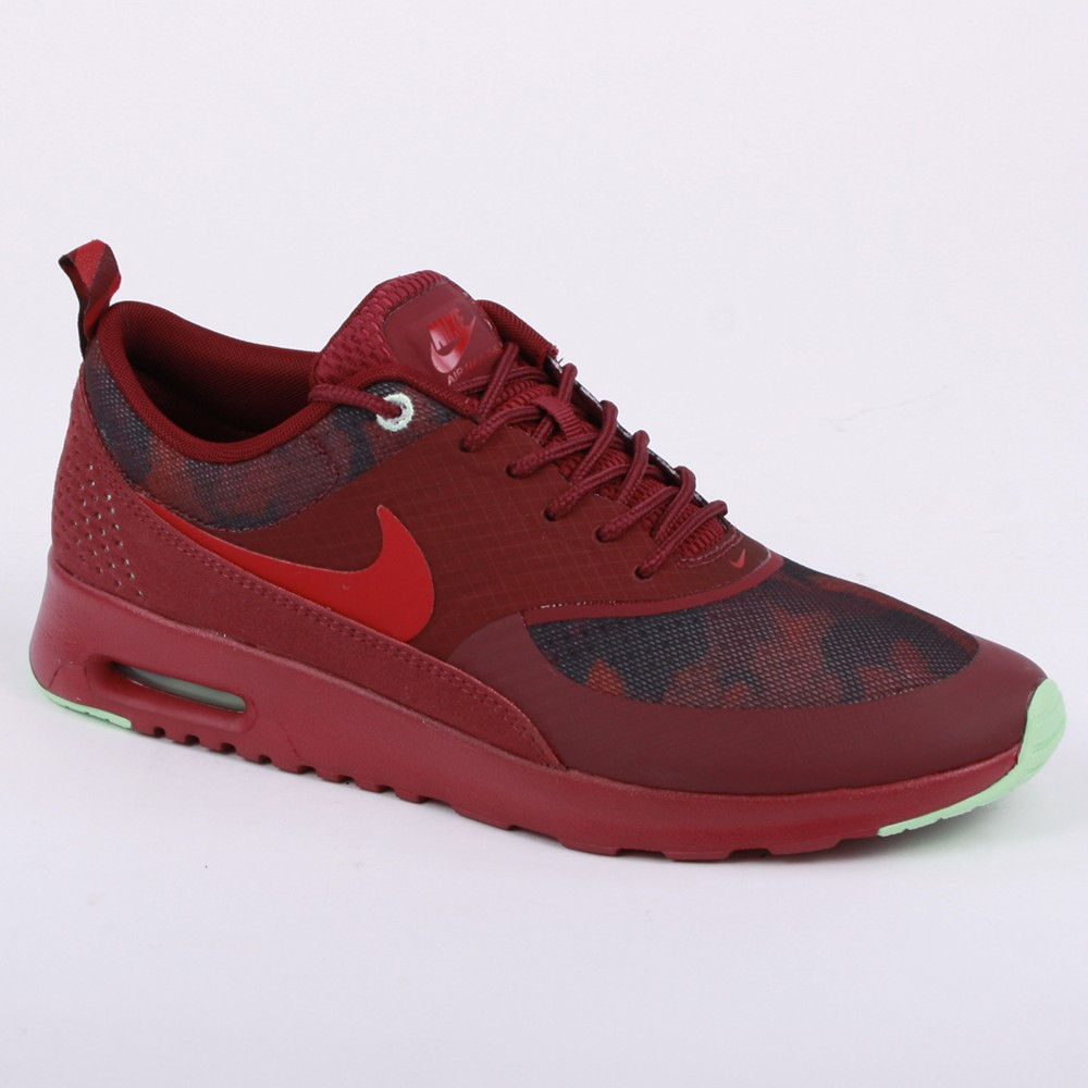 info for ff737 04834 Nike Air Max Thea Print 599408 600 Womens Synthetic & Leather Laced  Trainers Burgundy