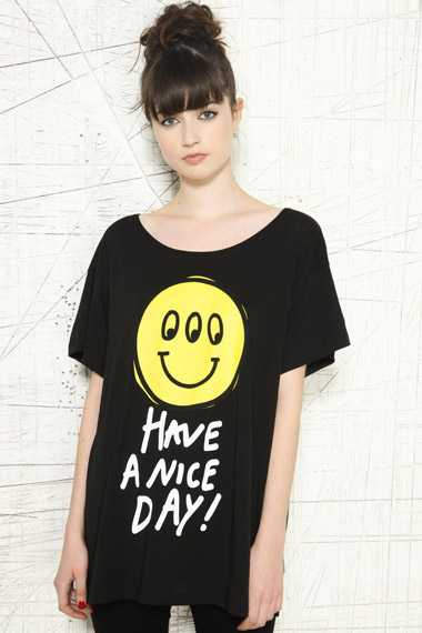 Lazy Oaf Black Smiley Yellow Face Tee Tshirt ONE SIZE BNWT Have a Nice Day | eBay