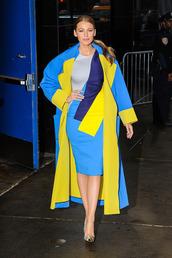 coat,dress,midi dress,bodycon dress,colorful,blake lively,pumps,shoes