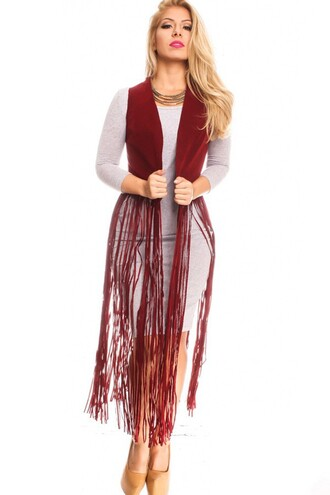 top burgundy burgundy top fringes fringed top faux suede black faux suede thigh high boots ta