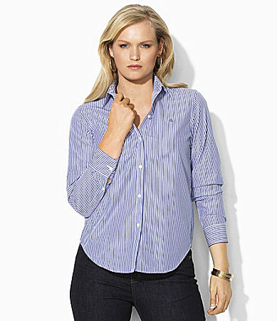 Lauren Ralph Lauren Woman Wrinkle-Free Slim Dress Shirt | Dillards.com