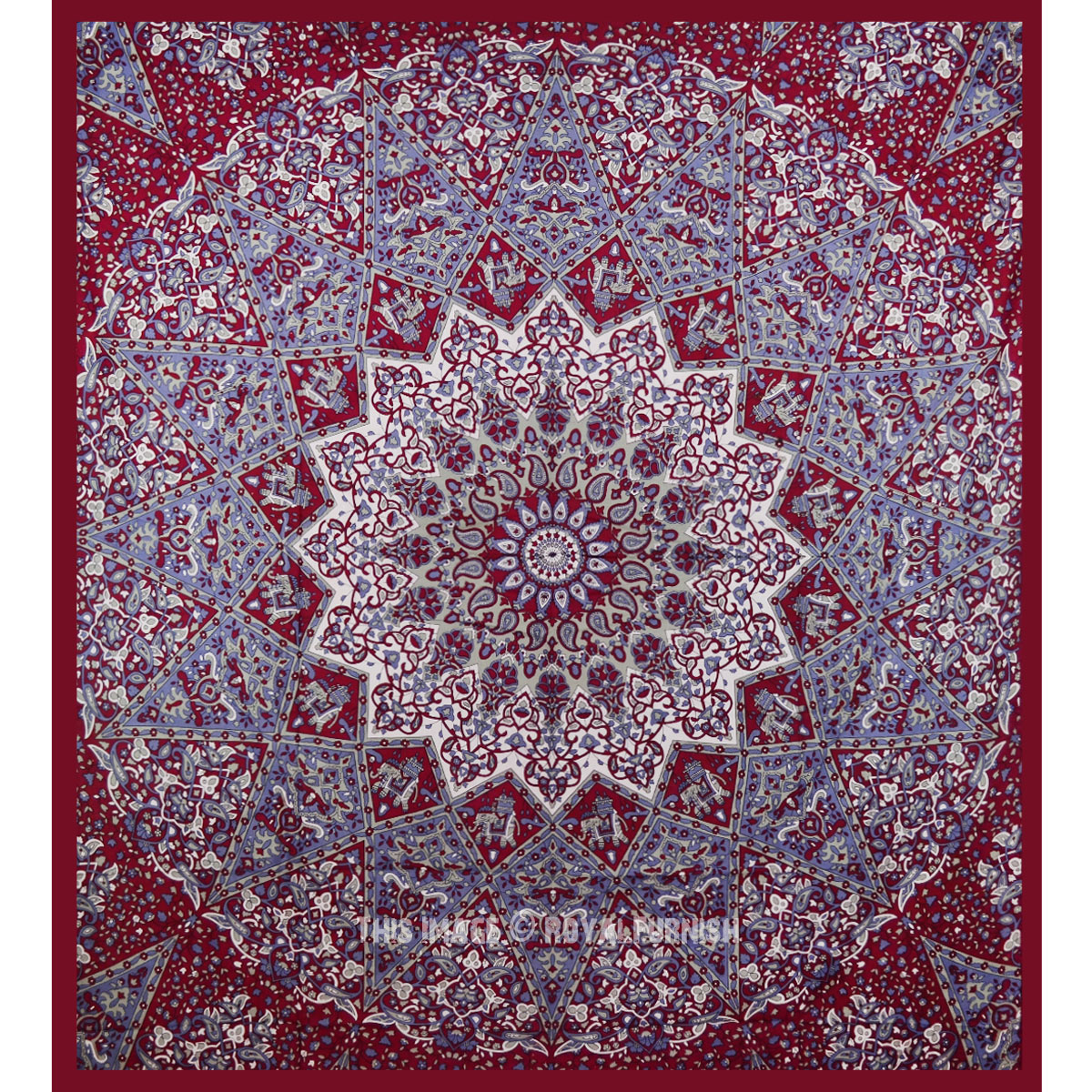 maroon indian star hippie mandala tapestry wall hanging bedspread