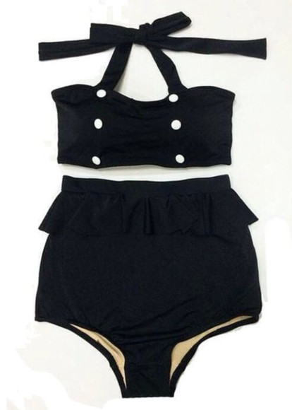 swimwear pinup plus size halter anchor high waisted two-piece top half flare navy sailor