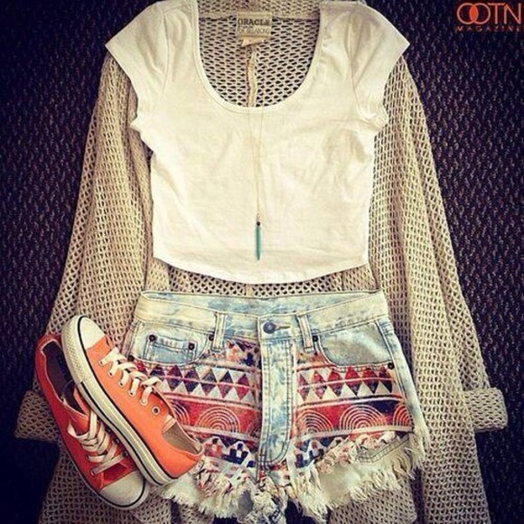 shorts aztec aztec short high waisted short high waisted denim shorts crop tops orange red denim cardigan knitted cardigan sweater t-shirt shirt aztec print tribal print tumblr blouse pants jean shorts