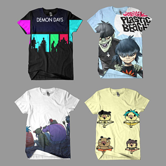 gorillaz white shirt grey shirt black shirt blue shirt red shirt yellow shirt