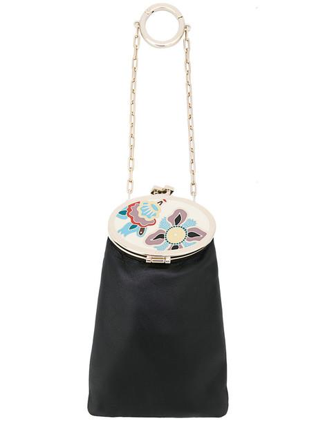 Valentino bag charm metal women bag leather black