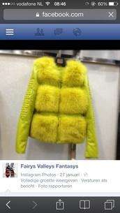 coat,faux fur,yellow,haute couture
