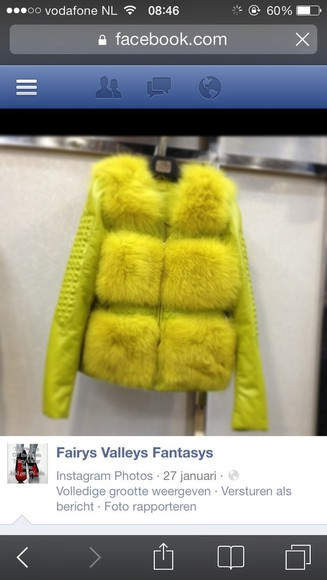 yellow coat faux fur haute couture