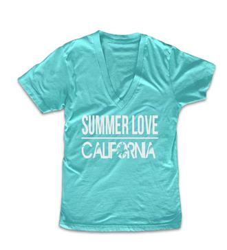 aqua blue t-shirt summer outfits deep v neck ariana grande graphic tees california