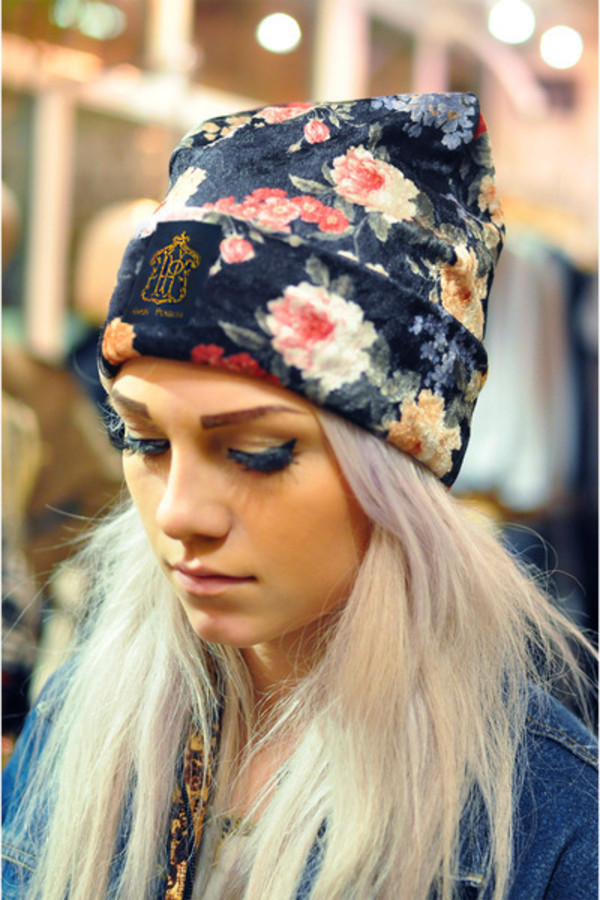 hat floral skully beanie silky colorful flowers cool
