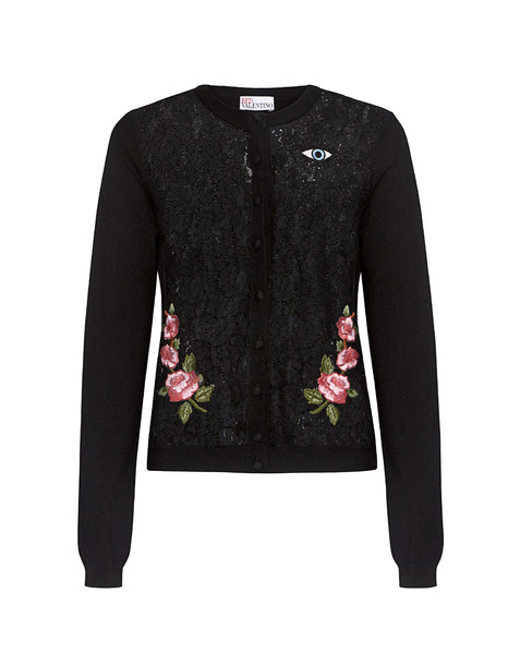 RED VALENTINO cardigan lace cardigan cardigan embroidered lace floral black sweater