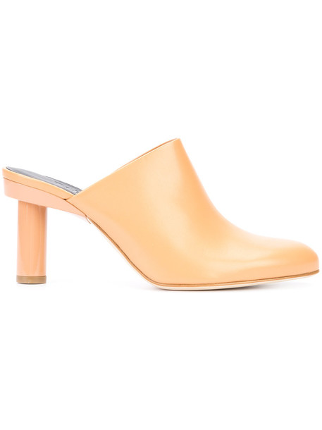 Tibi women mules leather nude shoes