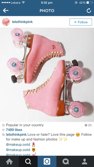 shoes pink dress blades rollerblades wheels retro cute