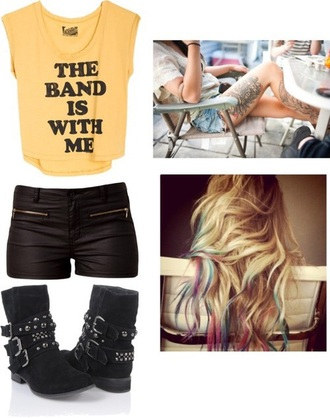 t-shirt the band is with me yellow shirt bad badass boots leather shorts rock