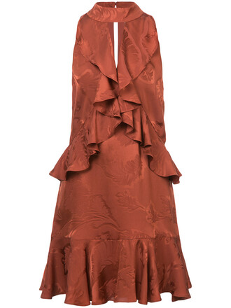 dress women jacquard silk yellow orange