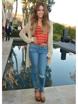 blouse top vanessa hudgens cardigan ripped jeans boyfriend cardigan jeans shoes light wash denim jeans vanessa  hudgens