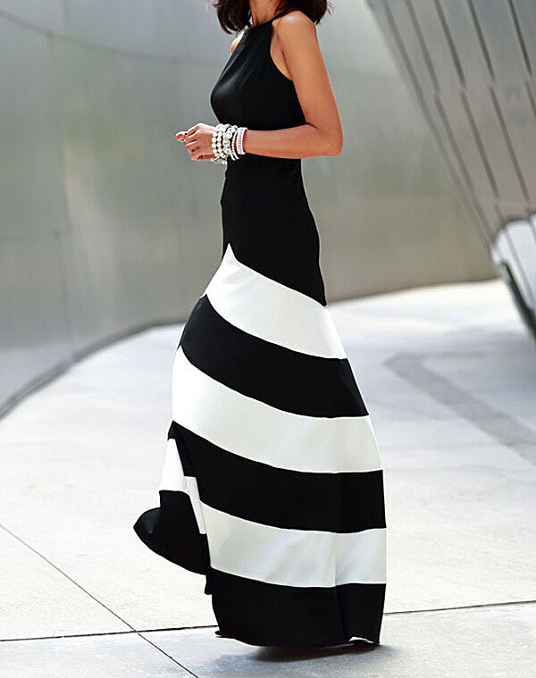 NEXTSHE 2014 New Elegant Black & White Stripes Off shoulder Halter Top Maxi Dress-in Dresses from Women's Clothing & Accessories on Aliexpress.com | Alibaba Group
