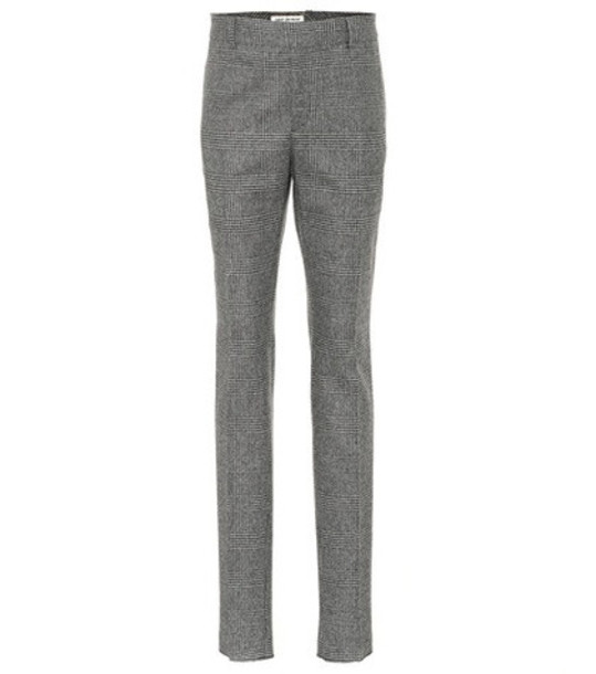 Saint Laurent Glen plaid wool pants in grey