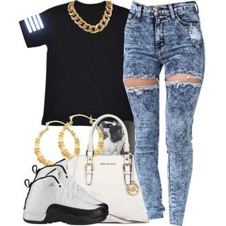 jeans t-shirt shirt jewels shoes