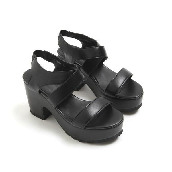 Vegan leather buckle sandals