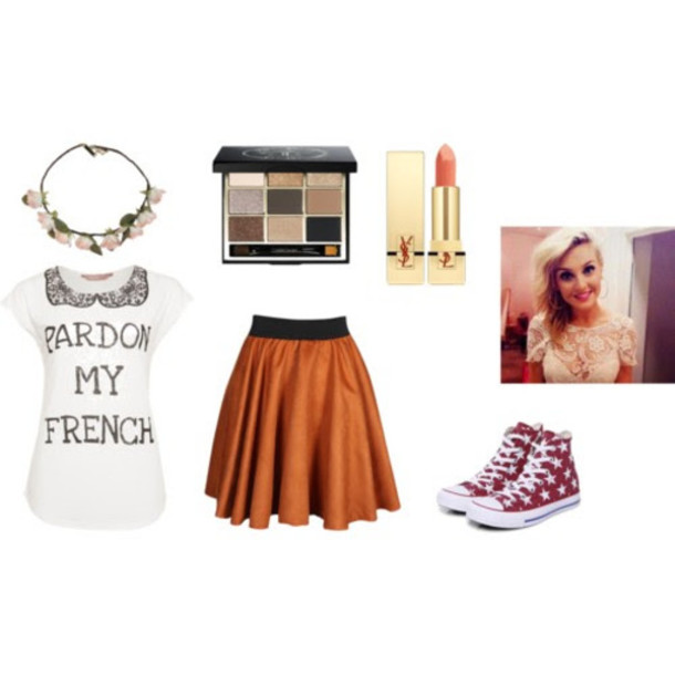 shirt flower crown natural makeup look red and white star converse perrie  edwards brown eyeshadow light a82775fb2