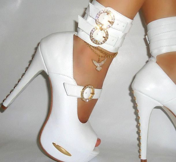 White And Gold High Heels - Qu Heel