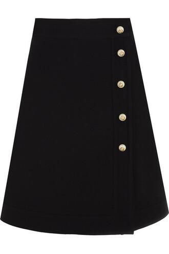 skirt mini skirt mini embellished black silk wool