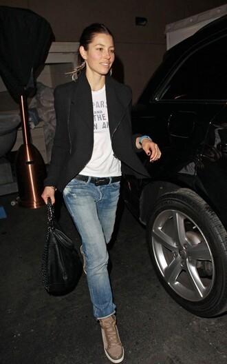 jessica biel blue jeans jeans t-shirt