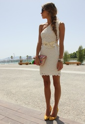 dress,lace dress,lace wedding dress,wedding clothes,one shoulder,belt,cream,white dress,knee length,knee length dress,pretty
