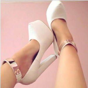 Lillian White Metal Ankle Strap Pumps