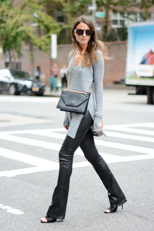 pants leather pants leather faux leather streetstyle fashion week 2014 fall outfits sweater shoes