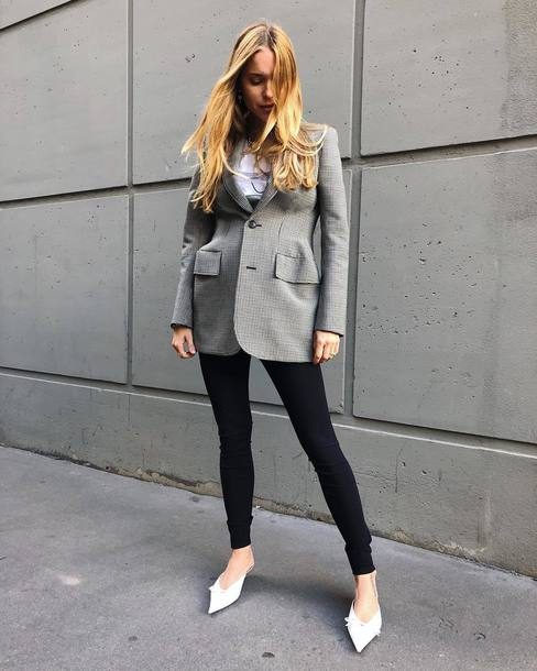 Jacket Blazer Grey Jacket Black Jeans Skinny Jeans Pumps White