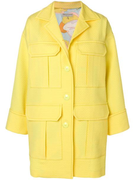 Emilio Pucci coat women cotton silk wool yellow orange
