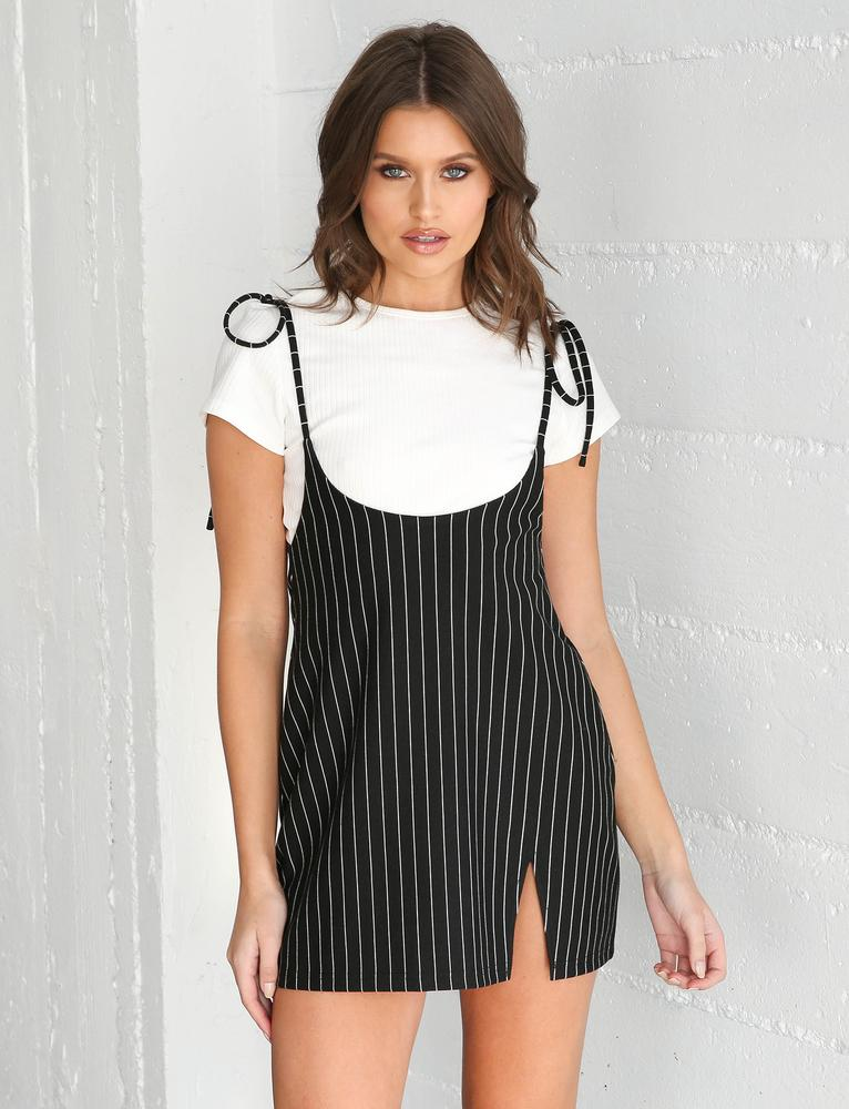 Buy Our Clara Pini Dress in Black Pinstripe Online Today! - Tiger Mist