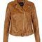 Tan leather-look biker jacket