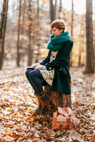 the clothes blogger combat boots knitted scarf leather backpack