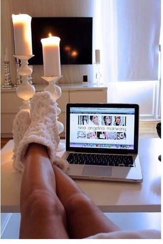 fluffy white slippers holiday season candle shoes