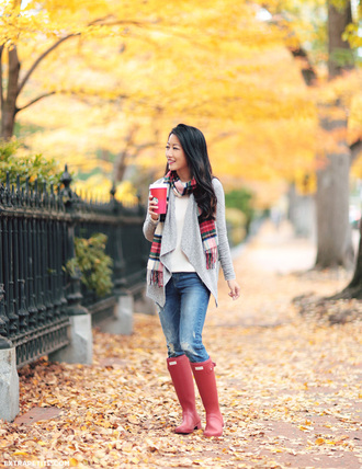 extra petite blogger jeans wellies red shoes grey cardigan tartan scarf cashmere jumper